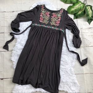 Monsoon Girls Gray Embroidered Dress 9/10 Yrs